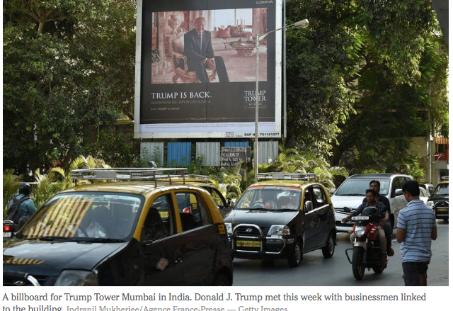 NYT: Mumbai Tower: Donald Trump Meeting Suggests He Is Keeping Up His Business Ties