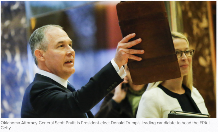 Politico: Trump picks Oklahoma oil ally Scott Pruitt to head EPA