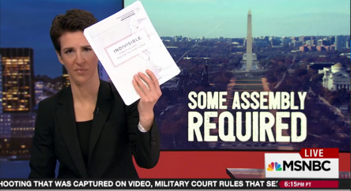"Rachel Maddow: The first rumblings of an anti-Trump movement. ""Indivisible"" guide a factor in GOP's reversal of bill to gut the House Ethics Office"