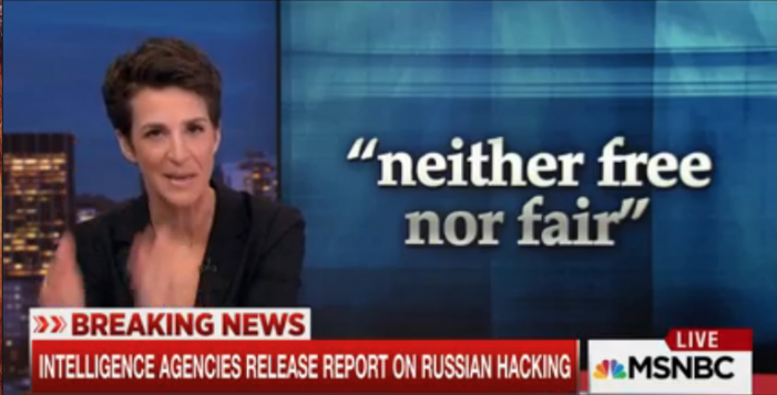 "Rachel Maddow accuses Donald Trump of ""blatantly and overtly bluntly, simply"" lying about the FBI-CIA-NSA intel report on Russia's election hack in his favor"