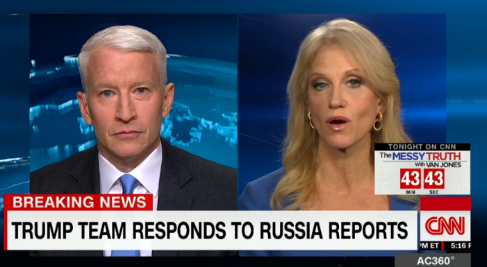 "AC 360 faceoff: KellyAnne Conway in ""non-denial denial"" calls CNN report on Russia briefing documents ""fake news"" – falsely charging CNN had link to BuzzFeed report on its website"