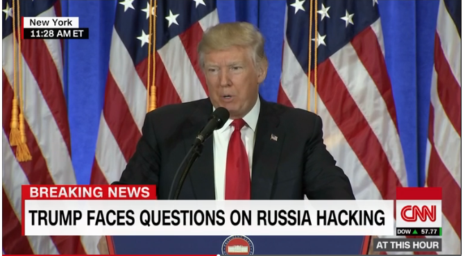 "CNN: While Trump admits to Russian election hack, his spokesman insists that reports that the Pres-elect has been compromised by Putin are the result of ""a political witch hunt."""