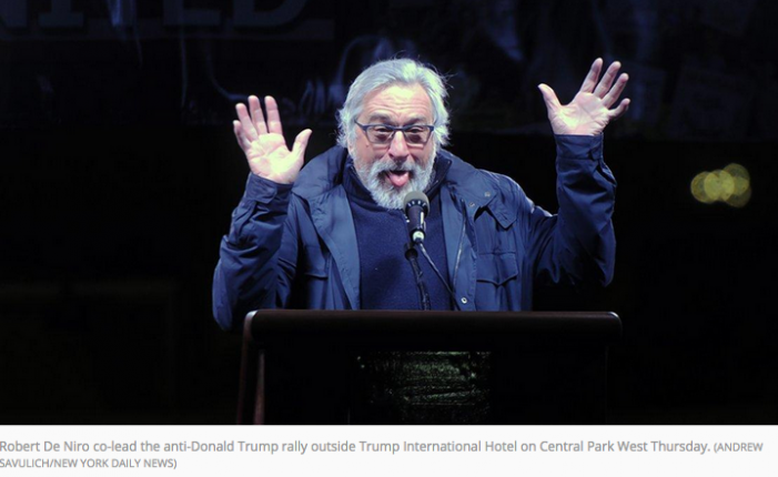 NY Daily News: Robert De Niro, Michael Moore, Cher and other stars lead thousands of New Yorkers in heated protest outside Trump's hotel