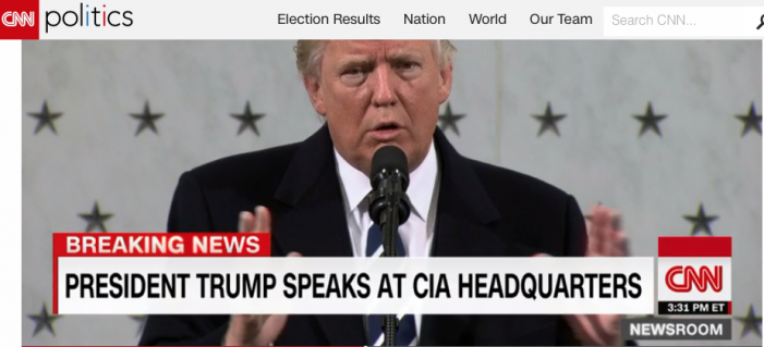 "CNN: In fence mending visit to CIA Trump spends most of his remarks discussing crowd size at his inaugural, his number of Time Mag covers and ""dishonest"" media coverage"