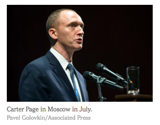 NYT: Carter Page, Ex-Trump Adviser With Russian Ties, Visits Moscow