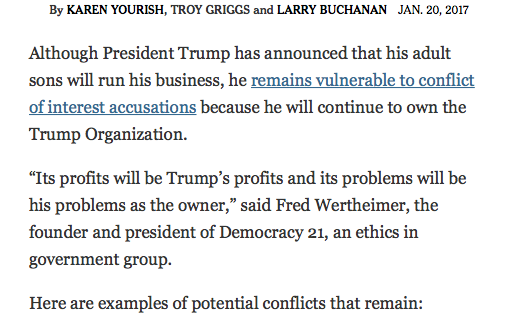 NYT: As Trump Takes Office, Many Conflicts of Interest Still Face His Presidency