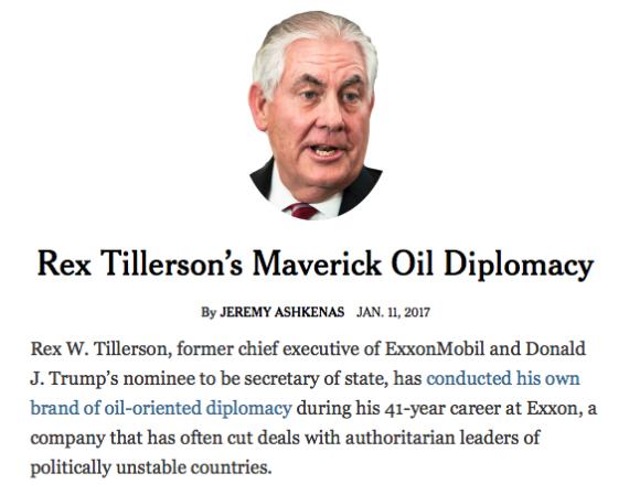 NYT: Rex Tillerson's Maverick Oil Diplomacy