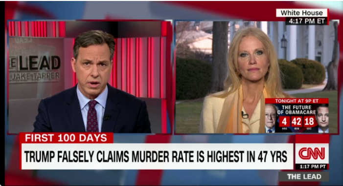CNN: Jake Tapper presses Kellyanne Conway on WH falsehoods & media attacks