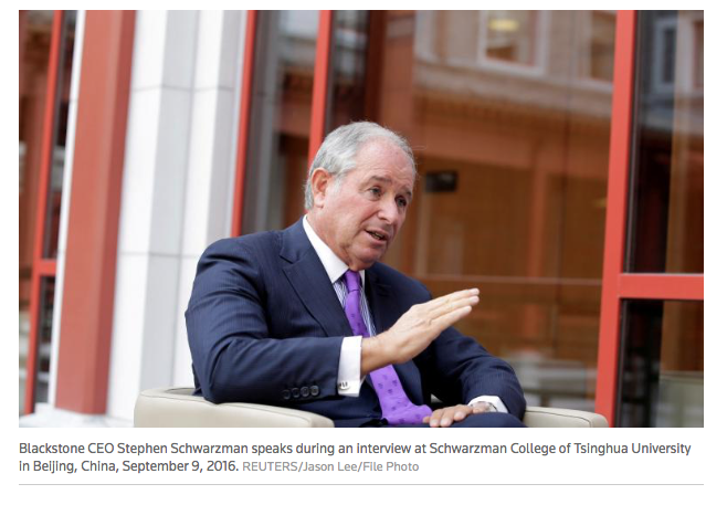 Reuters: Blackstone's Schwarzman sees historic regulatory overhaul from Trump
