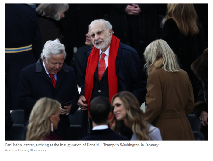 NYT: Icahn Raises Ethics Flags With Dual Roles as Investor and Trump Adviser