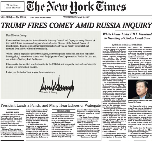 NYT: F.B.I. Director James Comey Is Fired by Trump