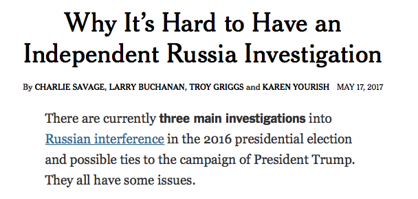 NYT: Why It's Hard to Have an Independent Russia Investigation
