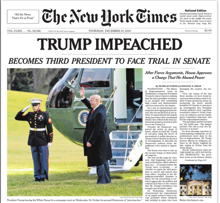 NYT: TRUMP IMPEACHED